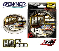 Леска плетеная OWNER HQ PE Baid 4X, Invisible Green, 150м, 0.18mm OWN-HQPEB8X-150-0.18
