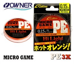 Леска плетеная OWNER Micro Game PE 3X, Orange, 150м, 0.093mm OWN-MGPE3X-150-0.093