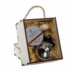 Набор для бритья v.3 с чашей в деревянном GIFT BOX BARBARO