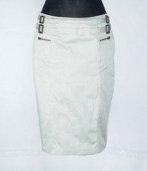 Серая прямая юбка декорированная пряжками и замочками Marks&Spencer 4816