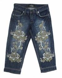 Синие джинсовые бриджи с вышитыми штанинами ITTERRE 5748