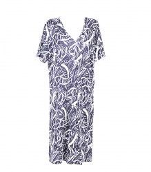 Темно-синее трикотажное платье 6509