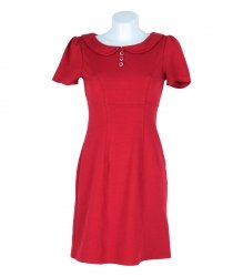 Красное трикотажное платье с коротким рукавом oasis 7325