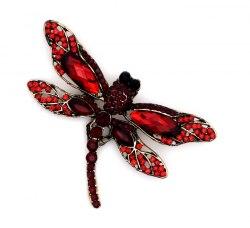Брошь Стрекоза красная b-075