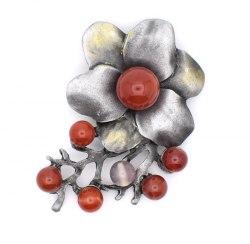 Брошь Цветок серый b-094