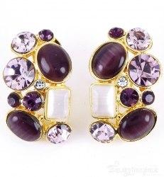 Серьги с фиолетовыми камнями s-021