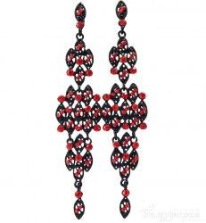 Серьги черно-красные s-012