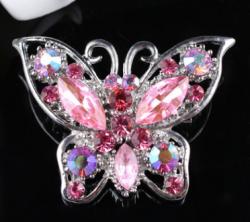 Брошь Бабочка розовая b-044