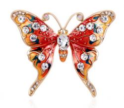 Брошь Бабочка красная с эмалью b-068