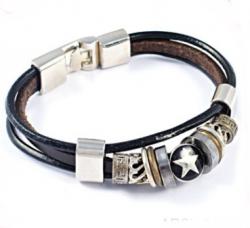 Браслет кожаный со звездой bc-018