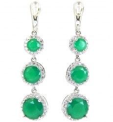 Серьги Тройные зеленые s-093