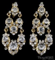 Серьги свадебные с кристаллами s-107