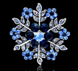 Брошь Cнежинка синяя b-081