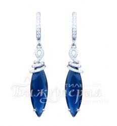 Серьги вечерние синие удлиненные s-064