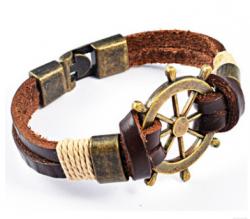 Кожаный браслет со штурвалом bc-075