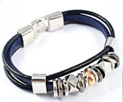 Браслет кожаный синий bc-076
