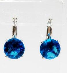 Серьги с синим фианитом s-121