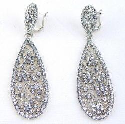 Серьги свадебные в серебре-3 s-136