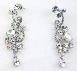 Серьги свадебные в серебре-44 s-137