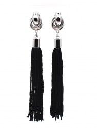 Серьги Кисточки черные s-067