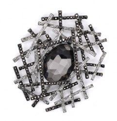 Брошь Серый кристалл b-175