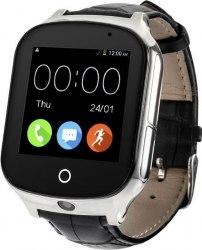 Часы Smart Baby Watch T100 черные кожаный ремешок