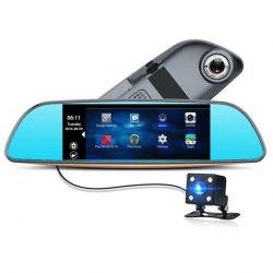 """Автомобильный видеорегистратор-зеркало XPX ZX858 с камерой заднего вида 7"""""""