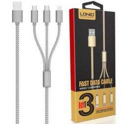 Мультифункциональный кабель LDNIO LS-85 3 in 1 USB-micro USB-Apple Charging 1200mm серый