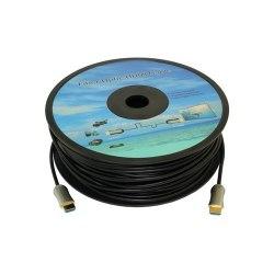 Кабель HDMI 50 метров Кабель аудио-видео Fiber Optic, HDMI (m) - HDMI (m) , ver 2.0, 50м, GOLD черный, катушка