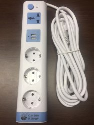 Удлинитель электрический 4 розетки, 3 метра с заземлением + 2 usb входа для зарядки мобильных устройств с выключателем 2500w.