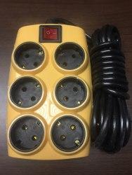 Удлинитель электрический 6 розеток, 3 метра с заземлением с выключателем 2500w.