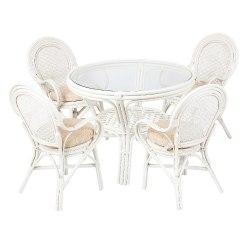 Комплект обеденный (стол 22/02 и 4 кресла 04/21 White)