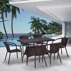 Обеденный комплект плетеной мебели из искусственного ротанга 3 Brown 6Pcs