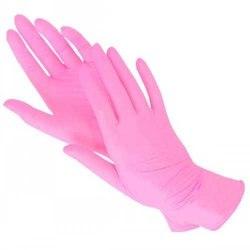 Перчатки нитриловые розовые 100 шт S