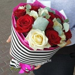 """Букет роз """"Полосатик"""" 15 роз"""