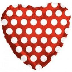 """Фольгированный шар """"Красное сердце в белый горошек"""" 18″ (46 см)"""