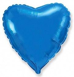 """Фольгированный шар """"Синее сердце"""" 18″ (46 см)"""