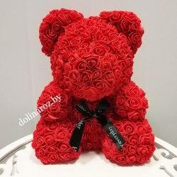 """Мишка из 3D роз """"Красный"""" + подарочная упаковка 40 см"""