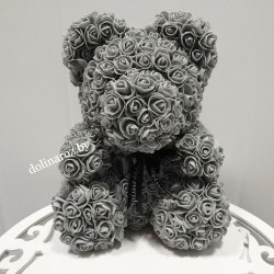 """Мишка из 3D роз """"Серый"""" + подарочная упаковка 40 см"""