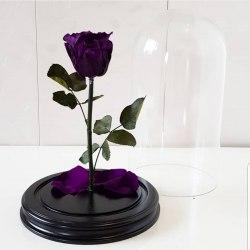 Роза в стеклянной колбе (темно-фиолетовая)
