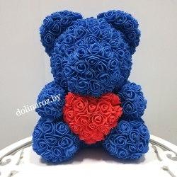 """Мишка из 3D роз """"Синий с красным сердцем"""" + подарочная упаковка 40 см"""