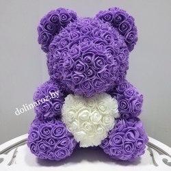 """Мишка из 3D роз """"Фиолетовый с белым сердцем"""" + подарочная упаковка"""