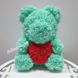 """Мишка из 3D роз """"Мятный с красным сердцем"""" + подарочная упаковка 40 см"""