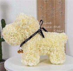 Собачка из роз (Белая)