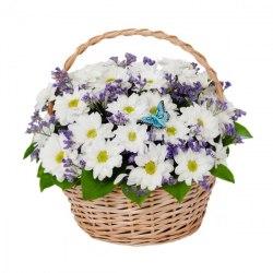 Корзина с хризантемой