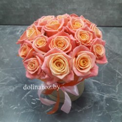 """Цветы в коробке """"Мисс Пигги"""" 21 роза"""