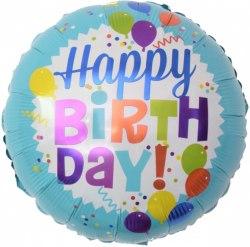 """Фольгированный шар """"Круг, С Днем Рождения! (шарики), Голубой"""" 18″ (46 см)"""