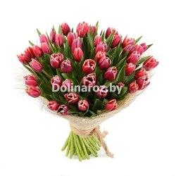 Букет красных тюльпанов 51шт.