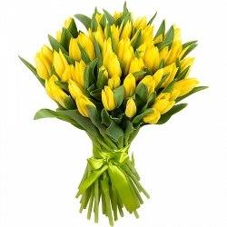 Букет желтых тюльпанов 51шт