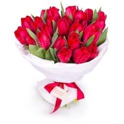 Букет красных тюльпанов 15шт.